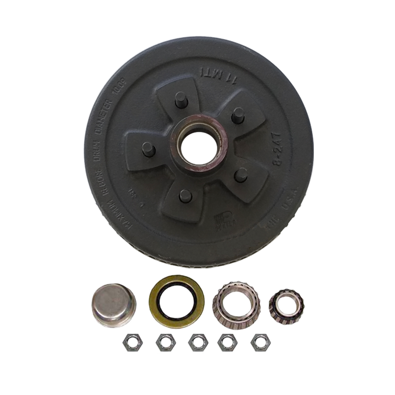 """1-545UHI-HD --- 5 on 4-1/2"""" Hub and Drum Assembly for 10"""" Brakes - 3,500 lb"""