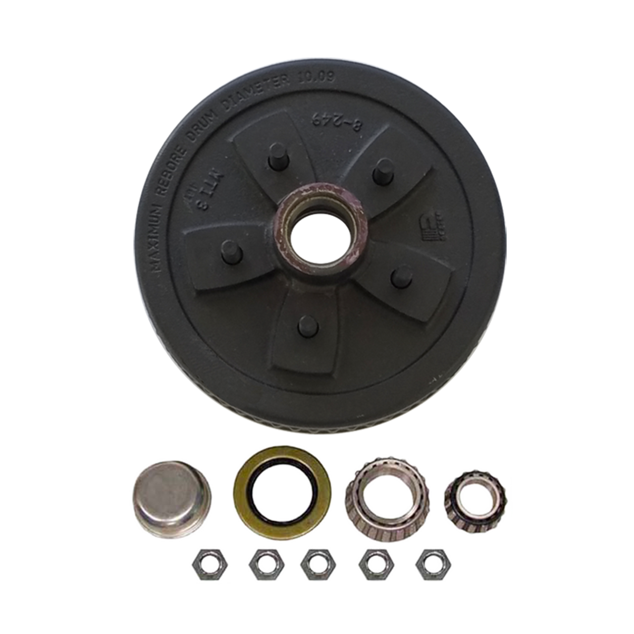"""1-555UHI-HD --- 5 on 5-1/2"""" Hub and Drum Assembly for 10"""" Brakes"""
