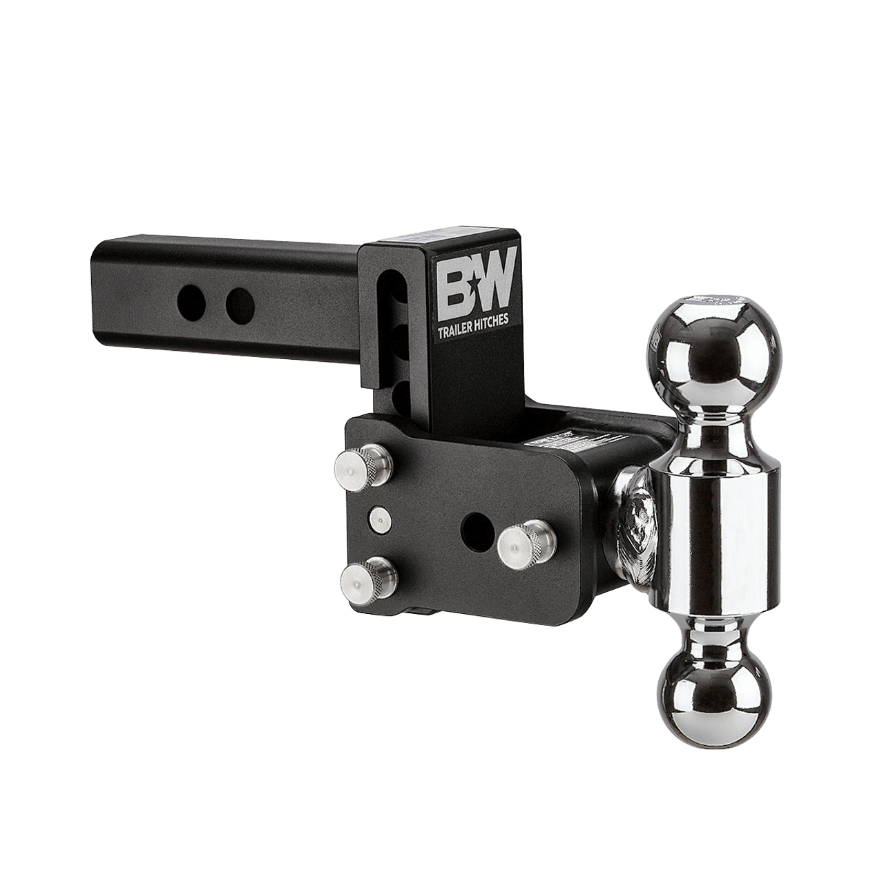 """MAGNUM-BLK --- B&W 2"""" Shank Tow and Stow Adjustable Two Ball Mount, 3"""" Maximum Drop"""