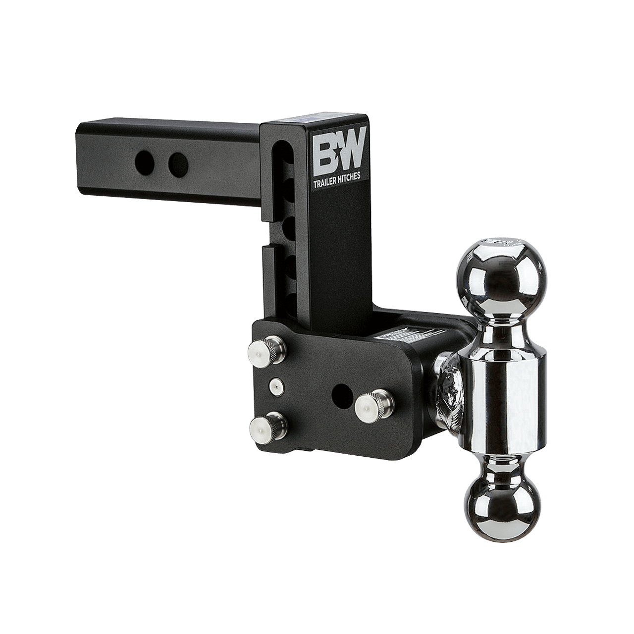 """MAGNUM-BLK8 --- B&W 2"""" Shank Tow and Stow Adjustable Two Ball Mount, 5"""" Maximum Drop"""