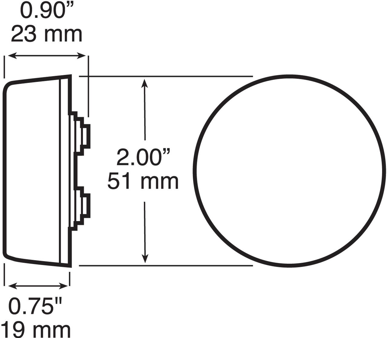 """LED146KR --- Round 2"""" Sealed LED Clearance/Side Marker Light Kit - 3 Diodes"""