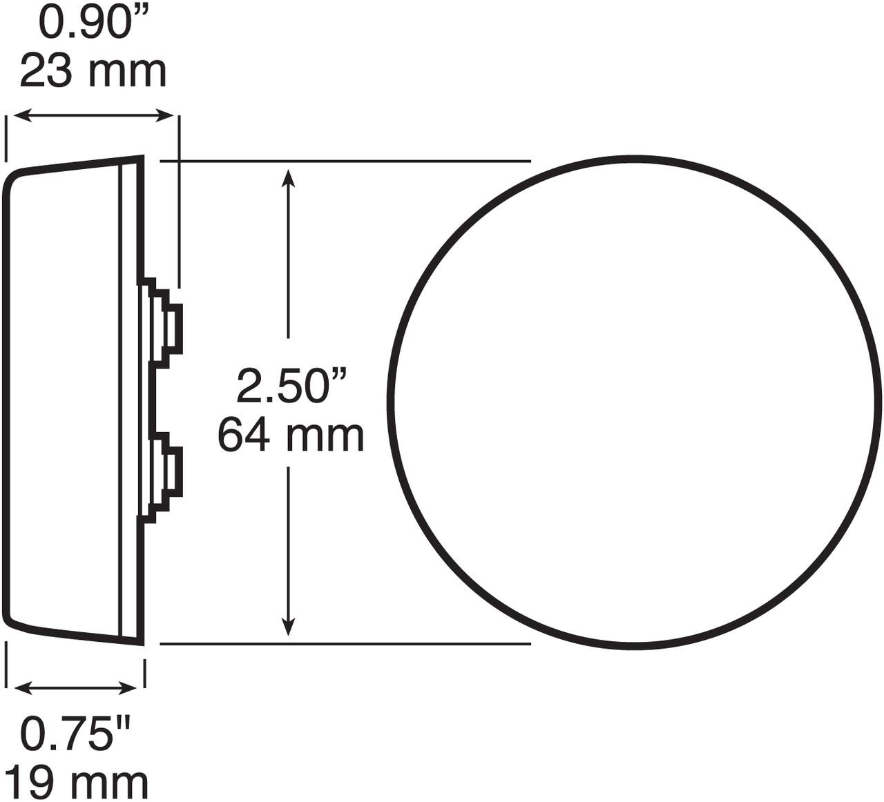 """LED143KR --- Round 2-1/2"""" Sealed LED Clearance/Side Marker Light Kit - 3 Diodes"""