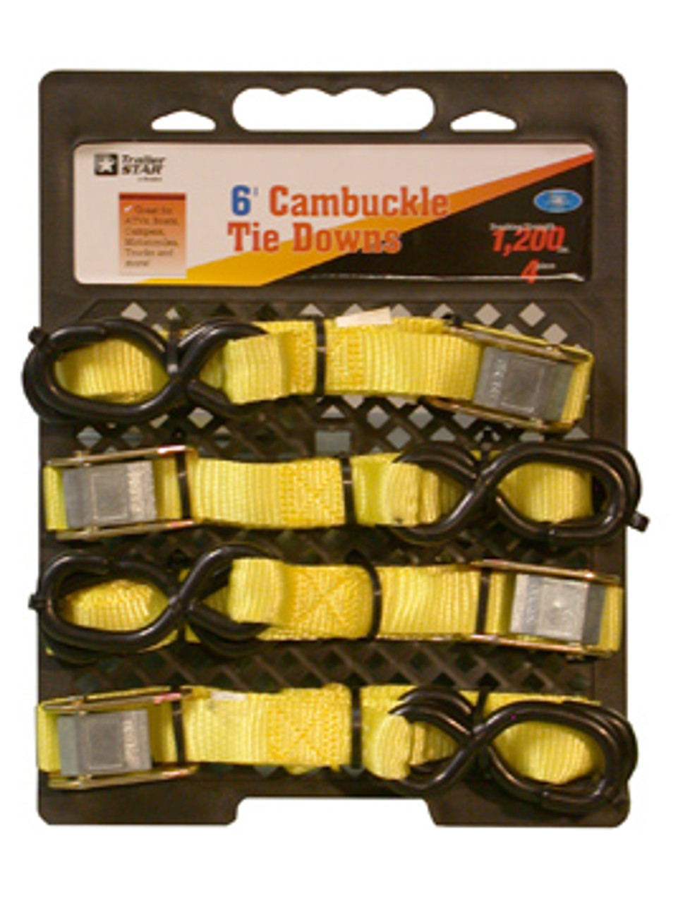 """BTS-16-4PK --- Standard Duty Tie Down Strap with Cam Buckle- S Hook End Fittings - 1"""" x 6'"""