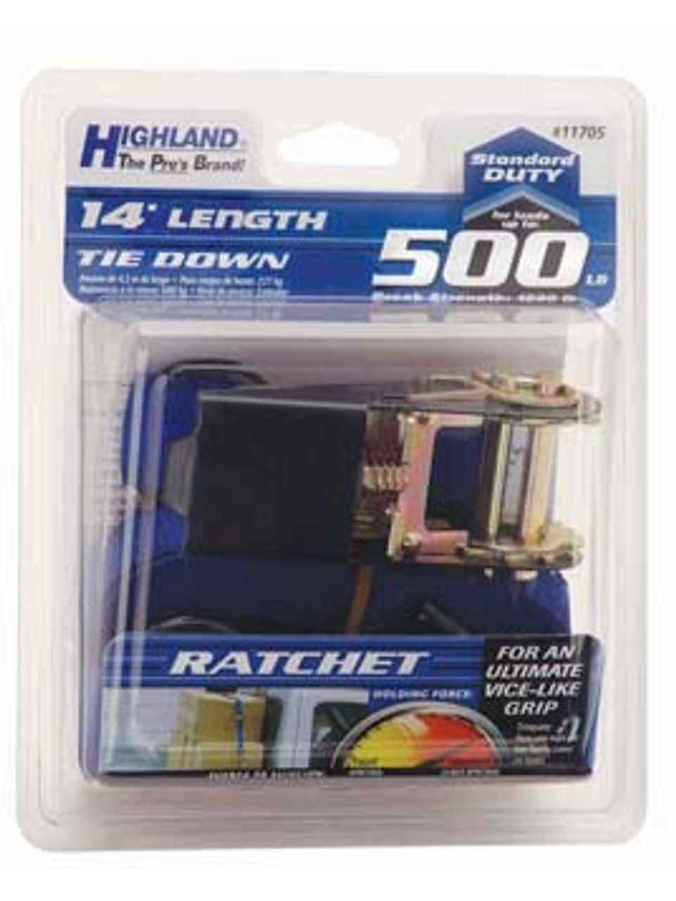"""RTS-114 --- Standard Duty Tie Down Strap with Ratchet - S Hook End Fittings - 1"""" x 15'"""