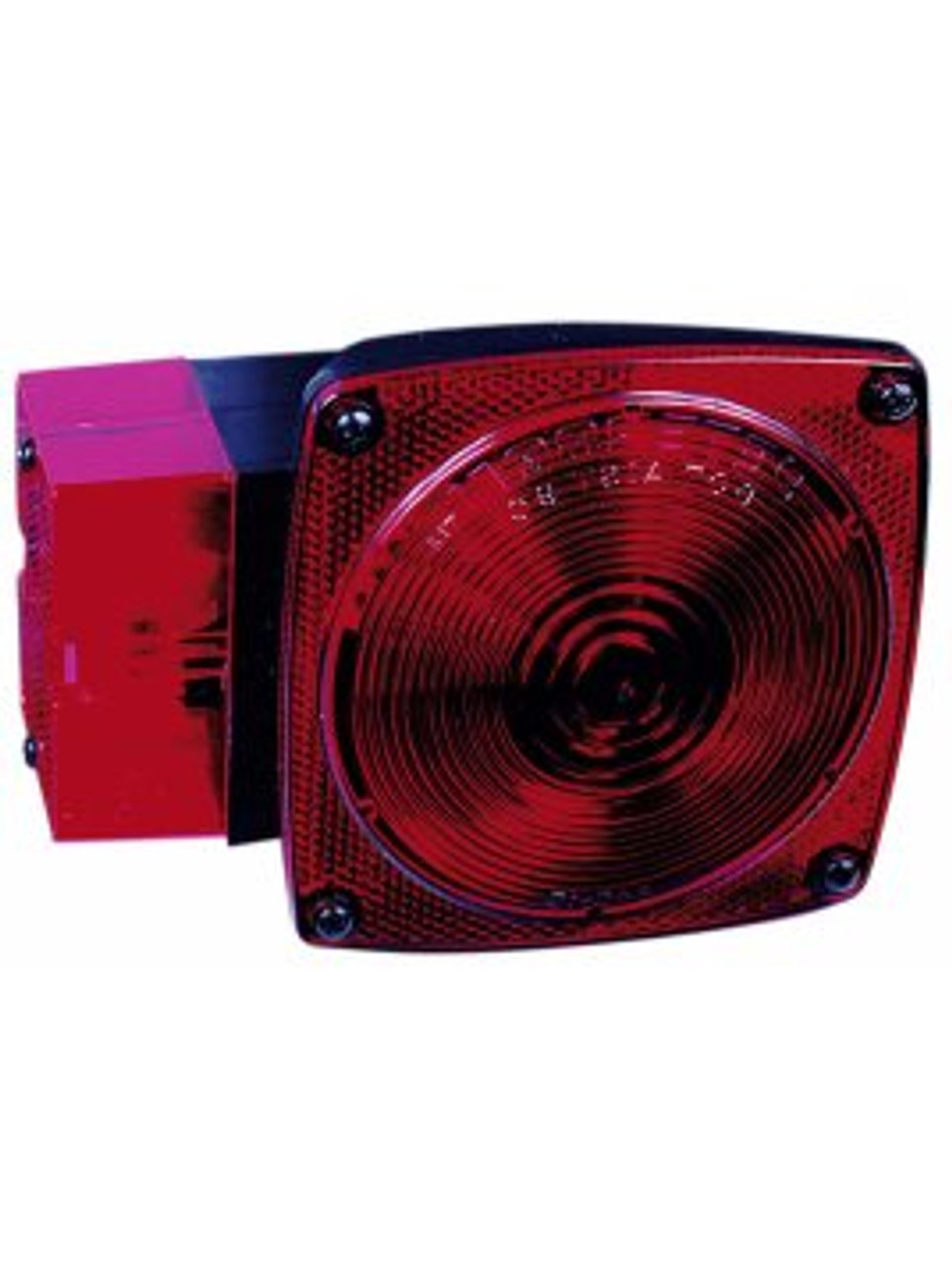"""444L --- Square Combination Left Tail Light with License Illuminator and Side Marker - For Over 80"""" Wide Trailer"""