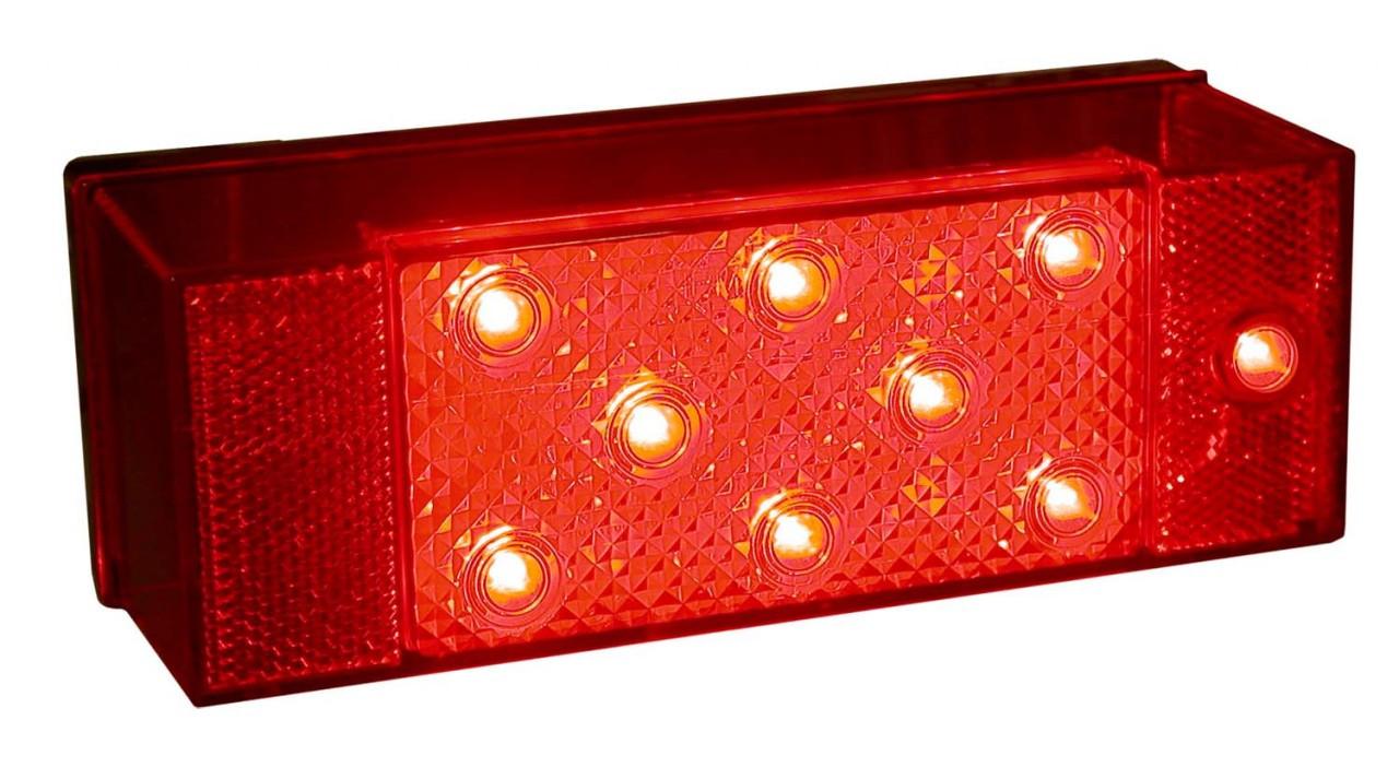 LED856L --- Rectangular Submersible LED Left Tail Light with License Illuminator and Side Marker