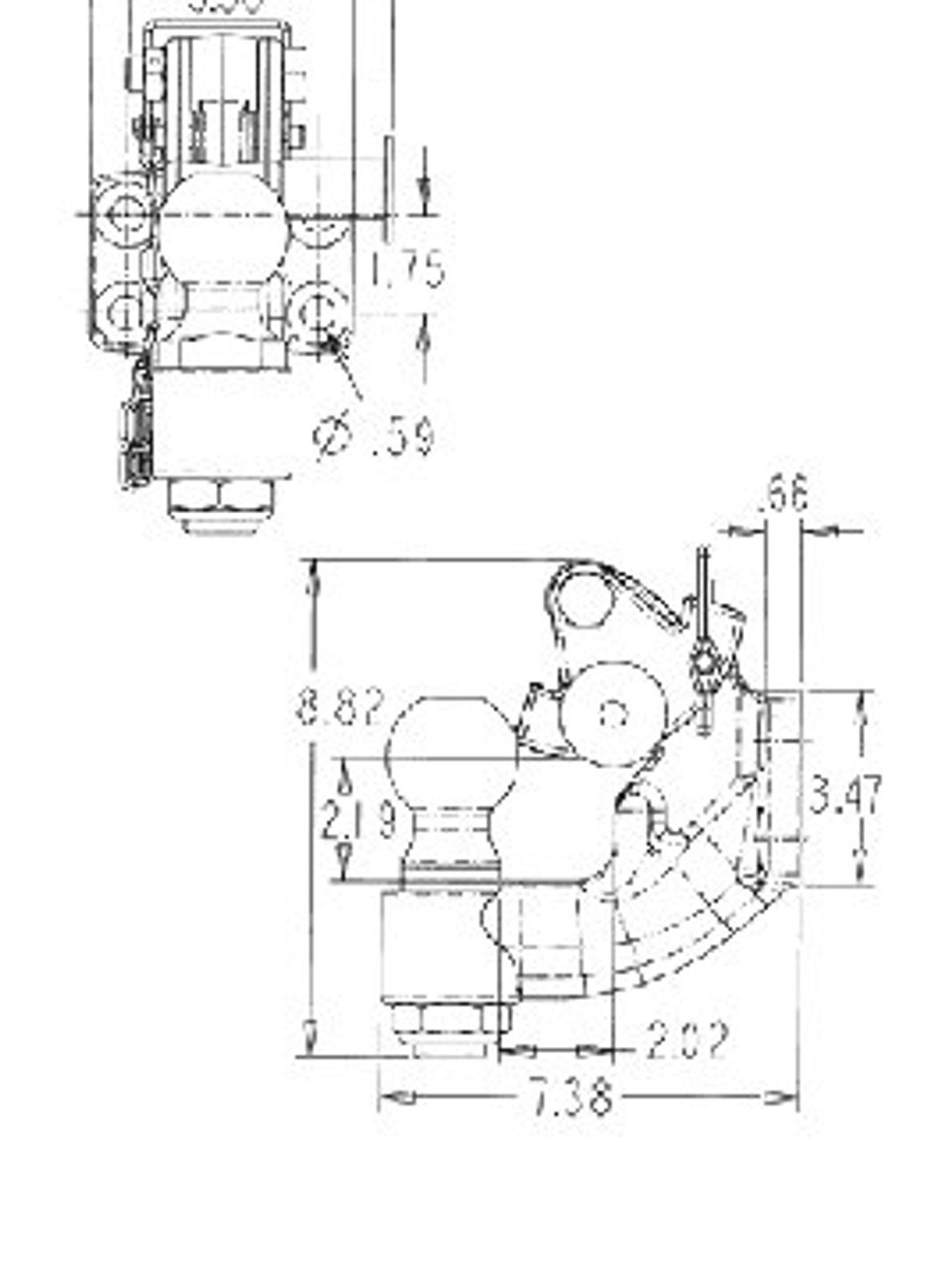 """DPH2516-20K --- Pintle Hook Combination with 2-5/16"""" Hitch Ball - 20,000 lb Capacity"""