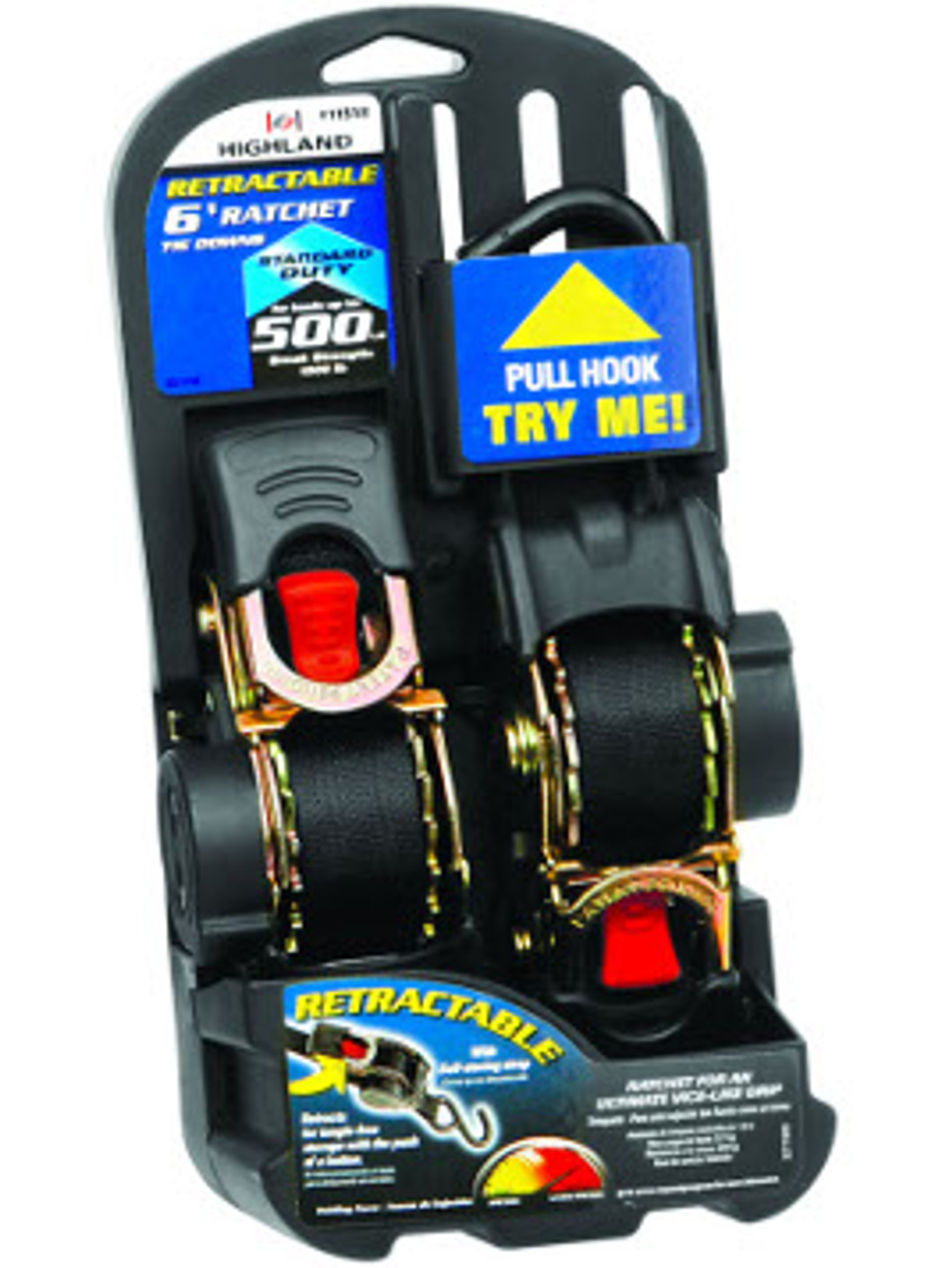 """RRTS-16-2PK --- Standard Duty Retractable Tie Down Strap with Ratchet - S-Hook End Fittings - 1"""" x 6'"""