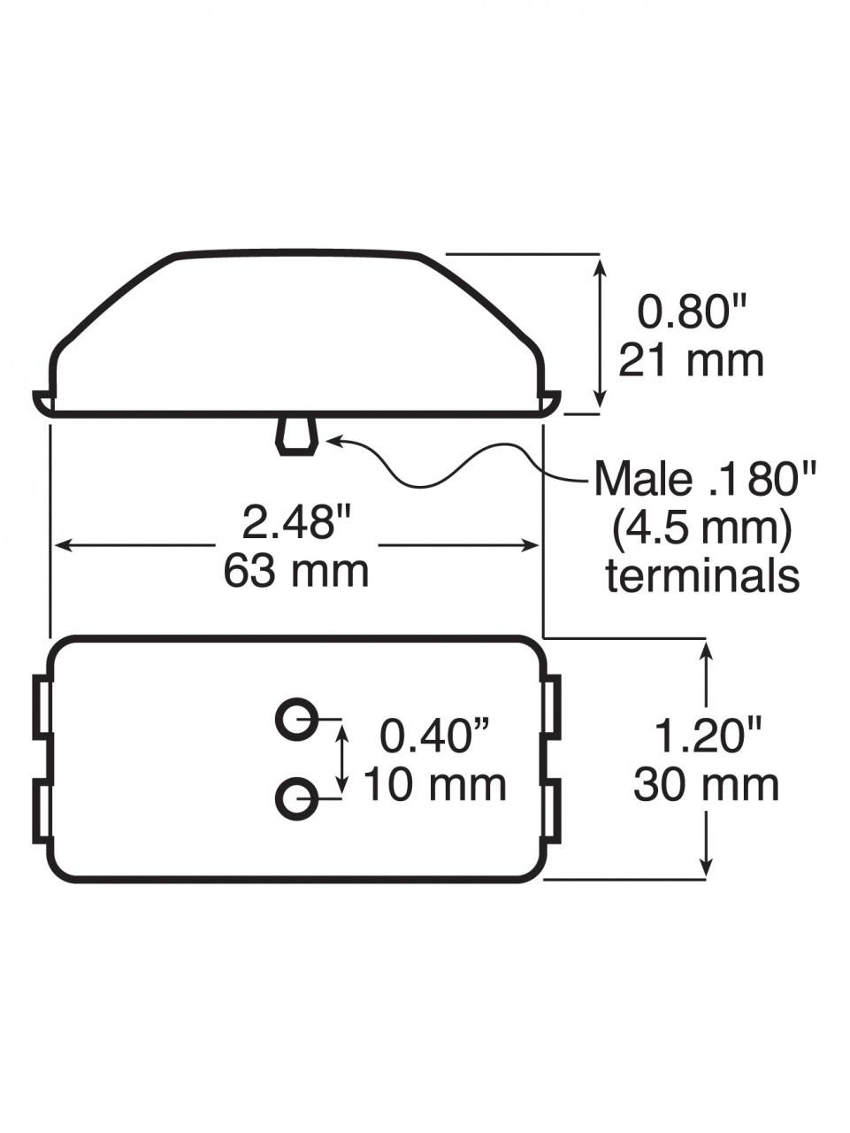 LED153A2 --- Rectangular Sealed LED Clearance/Side Marker Light - 2 Diodes