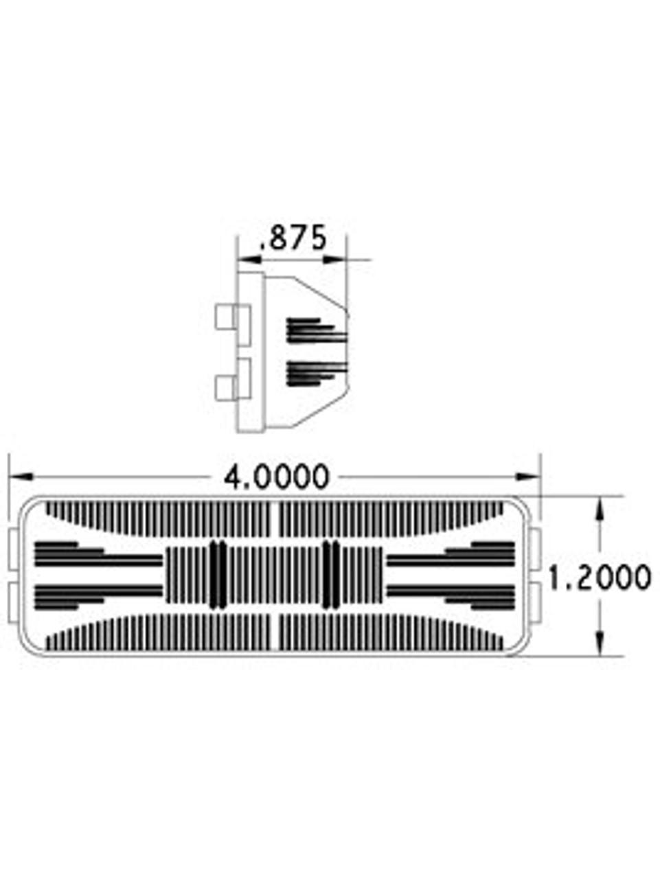 LED154A4 --- Rectangular Sealed LED Clearance/Side Marker Light - 4 Diodes
