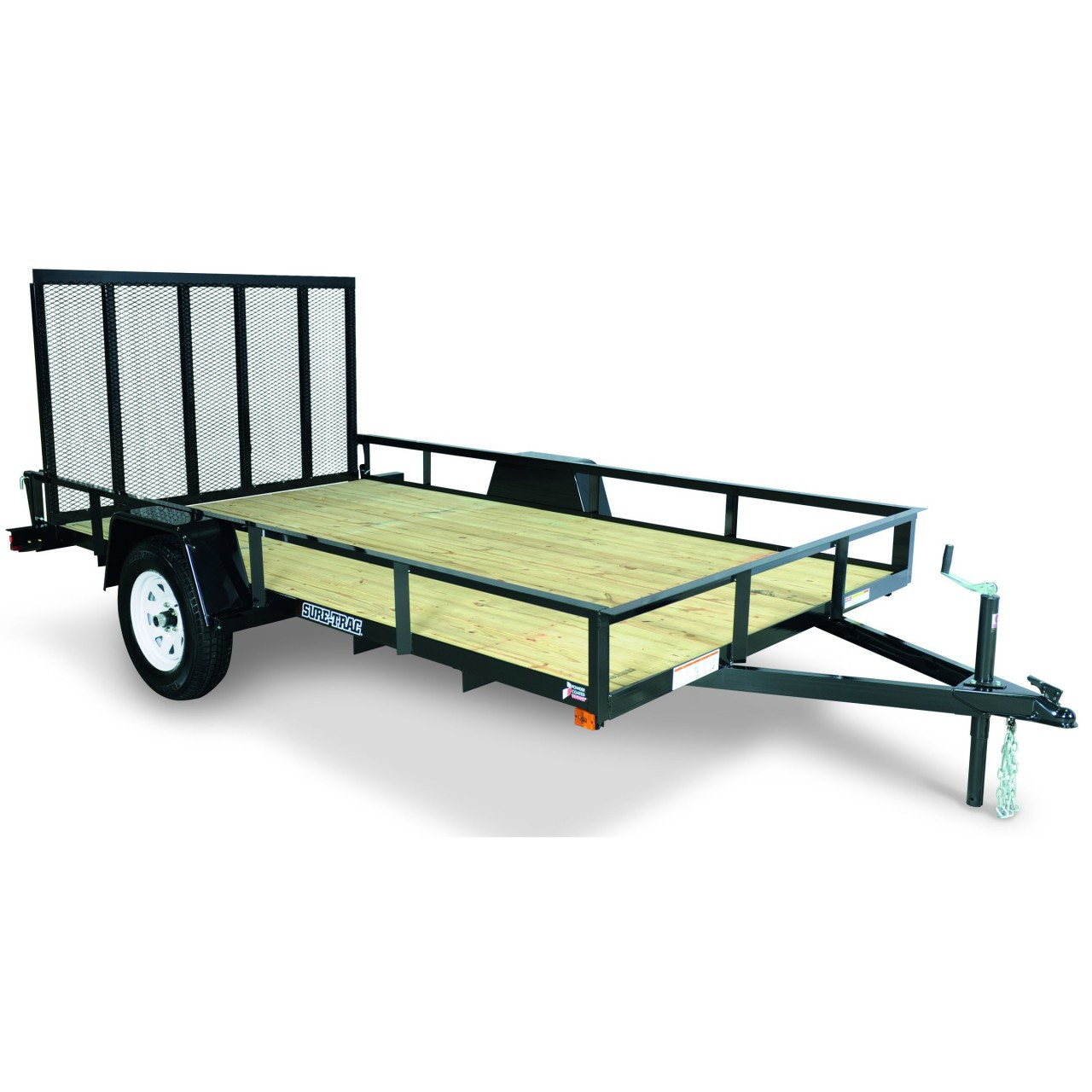 """STR712G --- 7' x 12' Trailer with 11"""" Rails and Ramp Gate"""