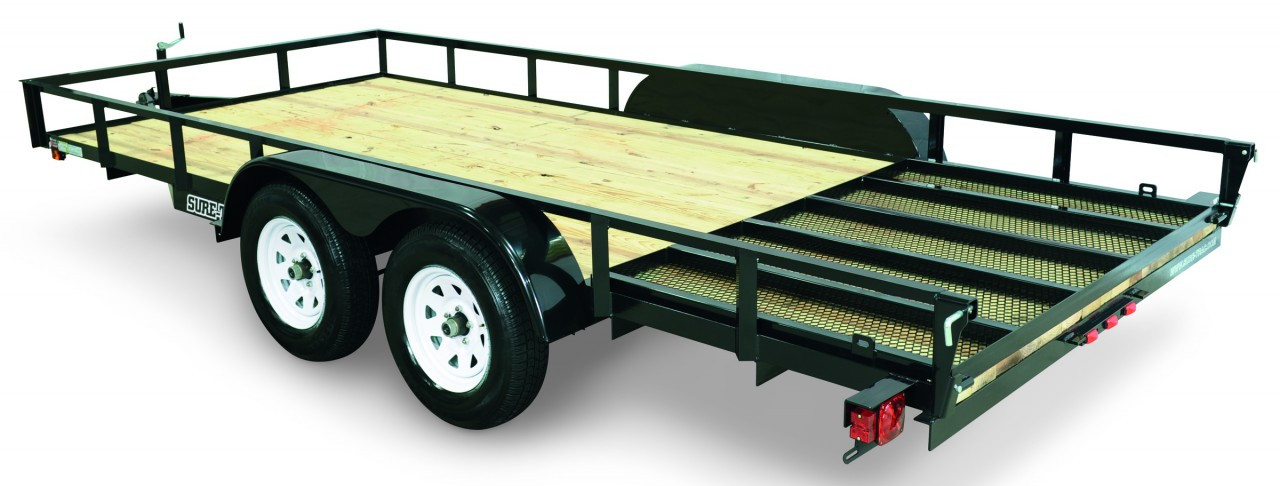 "STR8216G-E2 --- 82"" x 16' Trailer with 11"" Rails and Ramp Gate"