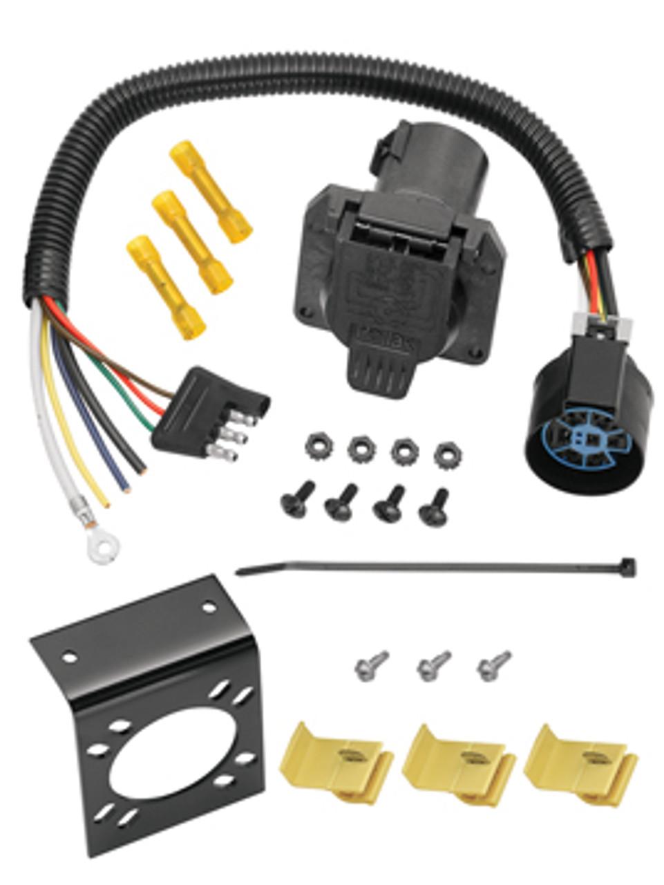 20125 --- 4-Prong Flat to 7-Way Round (Flat Pins) US car (OEM) Adapter