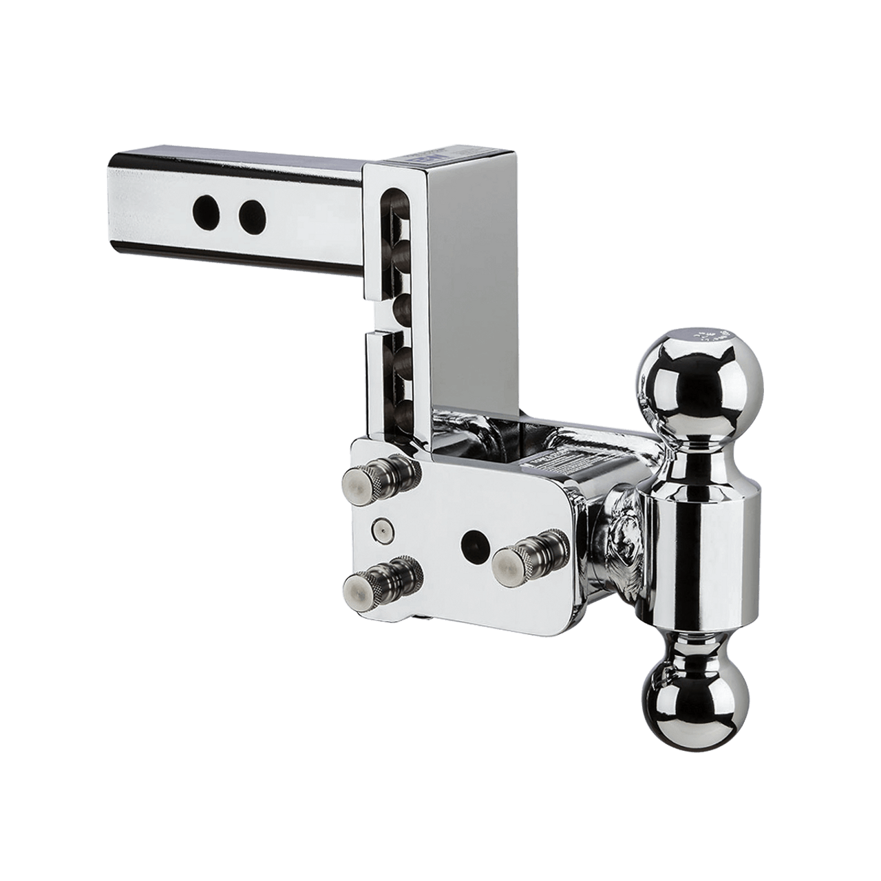 """MAGNUM-CHR8 --- B&W 2"""" Shank Tow and Stow Chrome Adjustable Two Ball Mount, 5"""" Maximum Drop"""