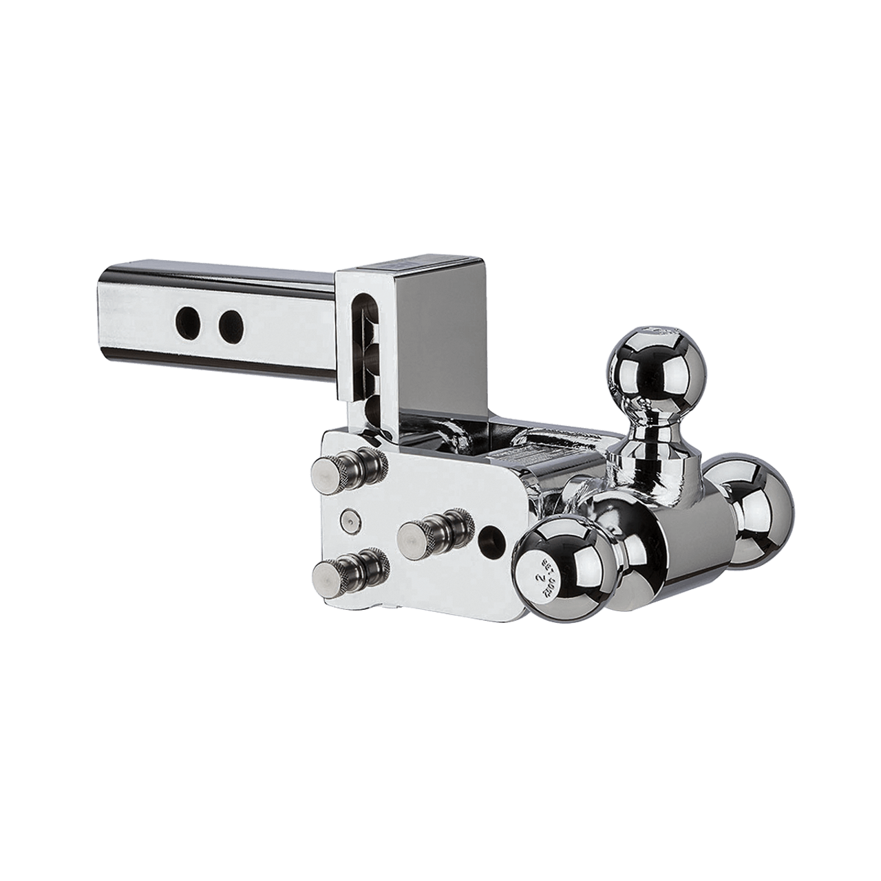 "QD10047C --- B&W 2"" Shank Tow and Stow Chrome Adjustable Tri-Ball Mount, 3"" Maximum Drop"