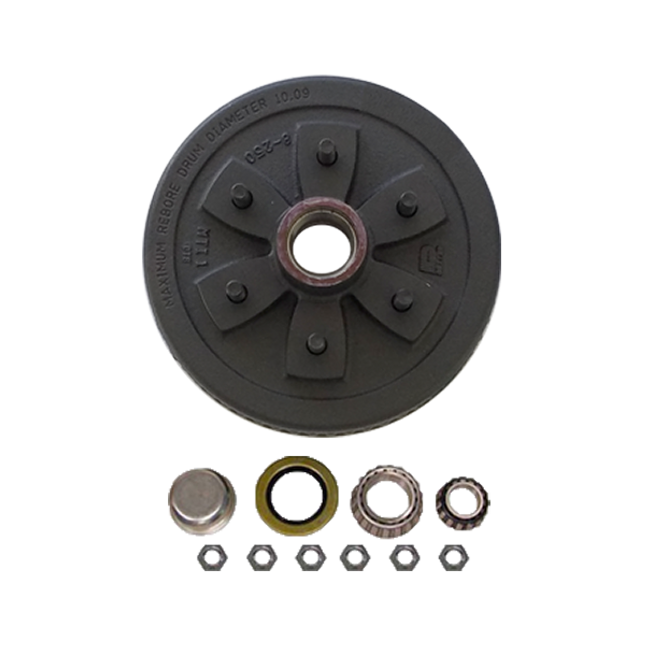 """1-655UHI-HD --- 6 on 5-1/2"""" Hub and Drum Assembly for 10"""" Brakes - 3,500 lb"""