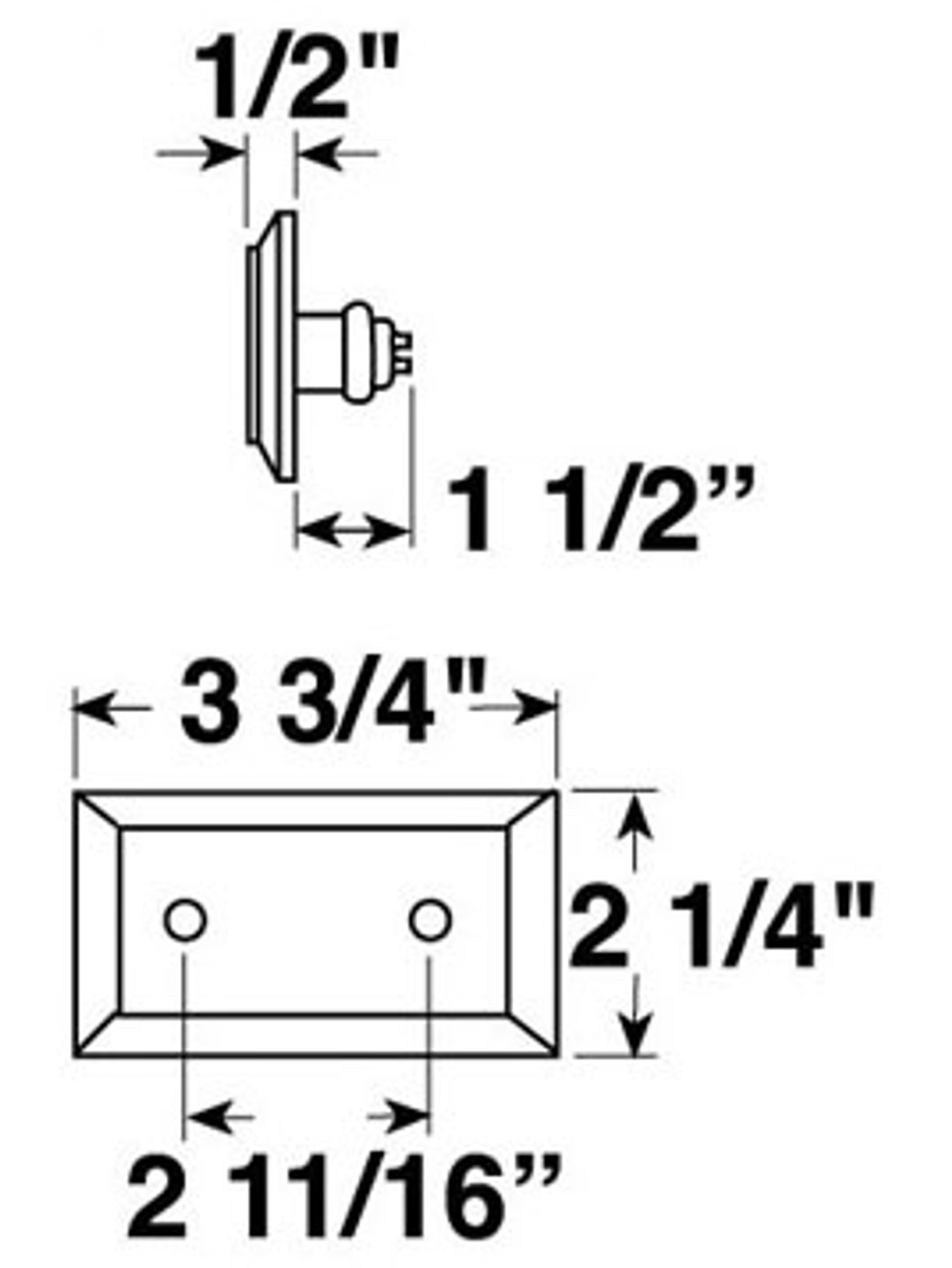 V126A --- Rectangular Chrome Plated Clearance/Side Marker Light