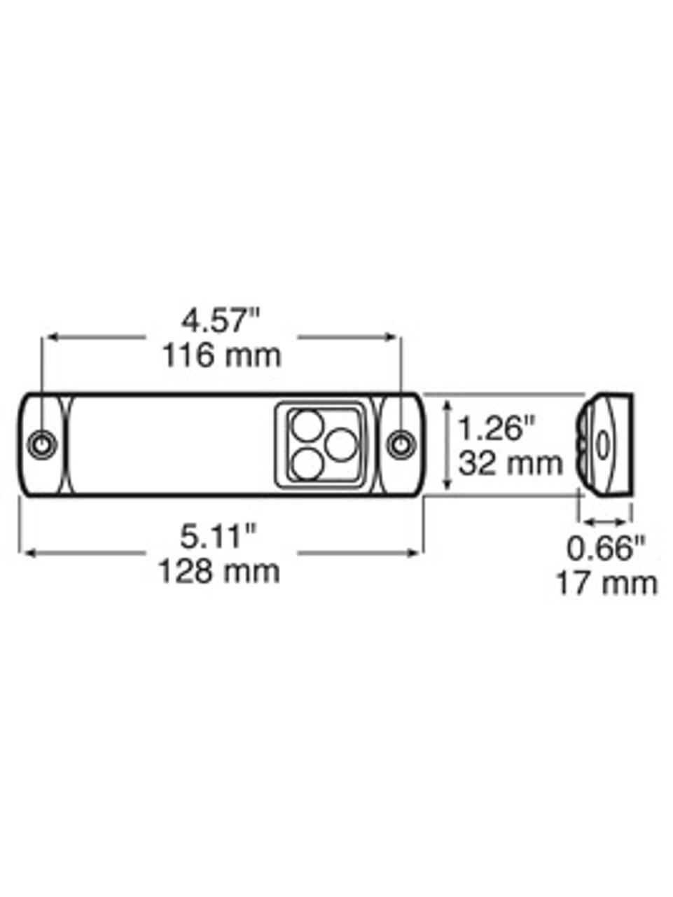 LED1203R3 --- Rectangular Sealed LED Clearance/Side Marker Light with Reflex - 3 Diodes