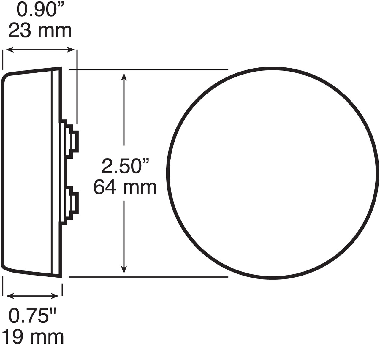"""LED143A4 --- Round 2-1/2"""" Sealed LED Clearance/Side Marker Light - 3 Diodes"""