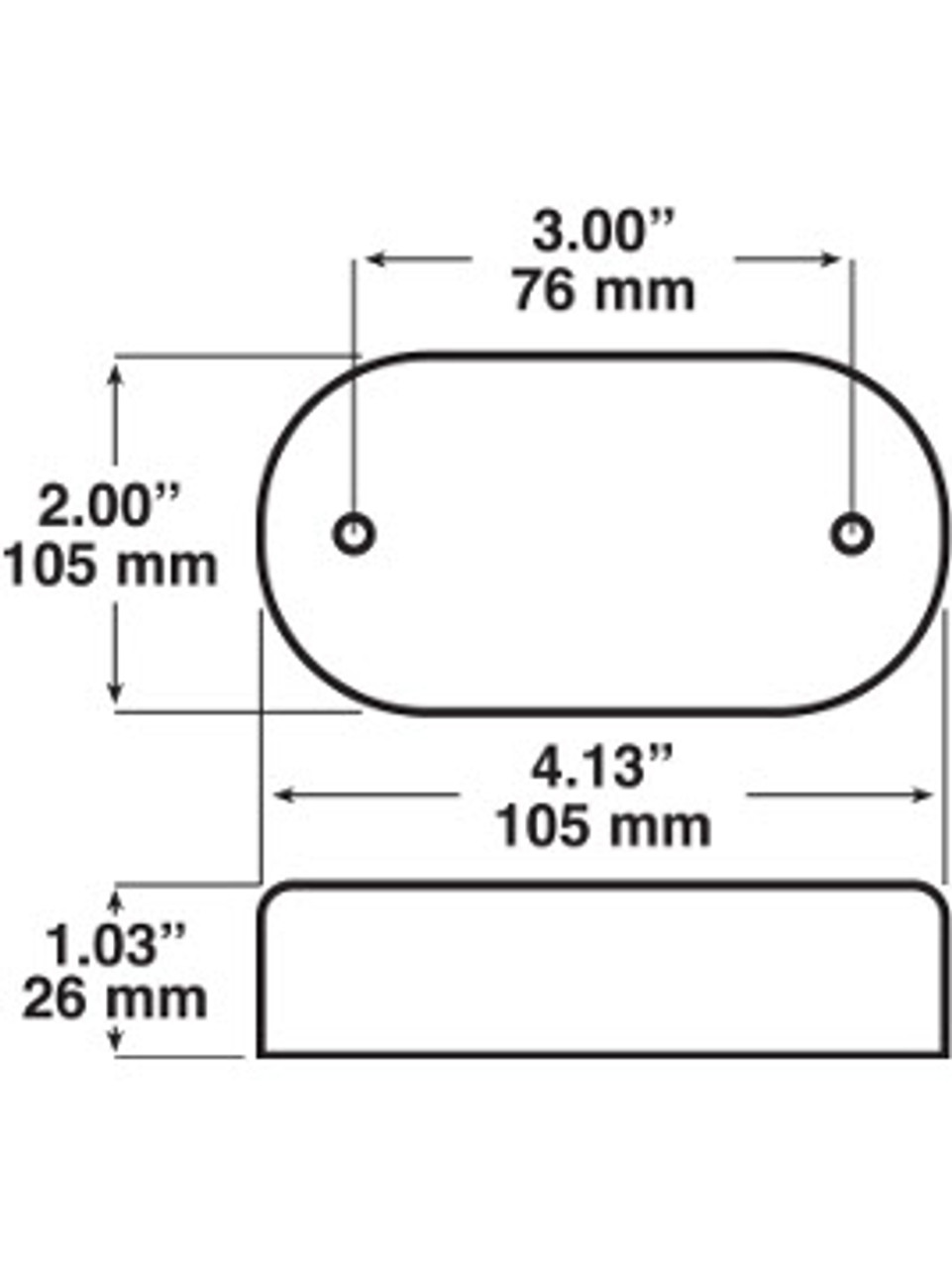 LED180A6 --- Oval LED Clearance/Side Marker with Reflex - 6 Diodes