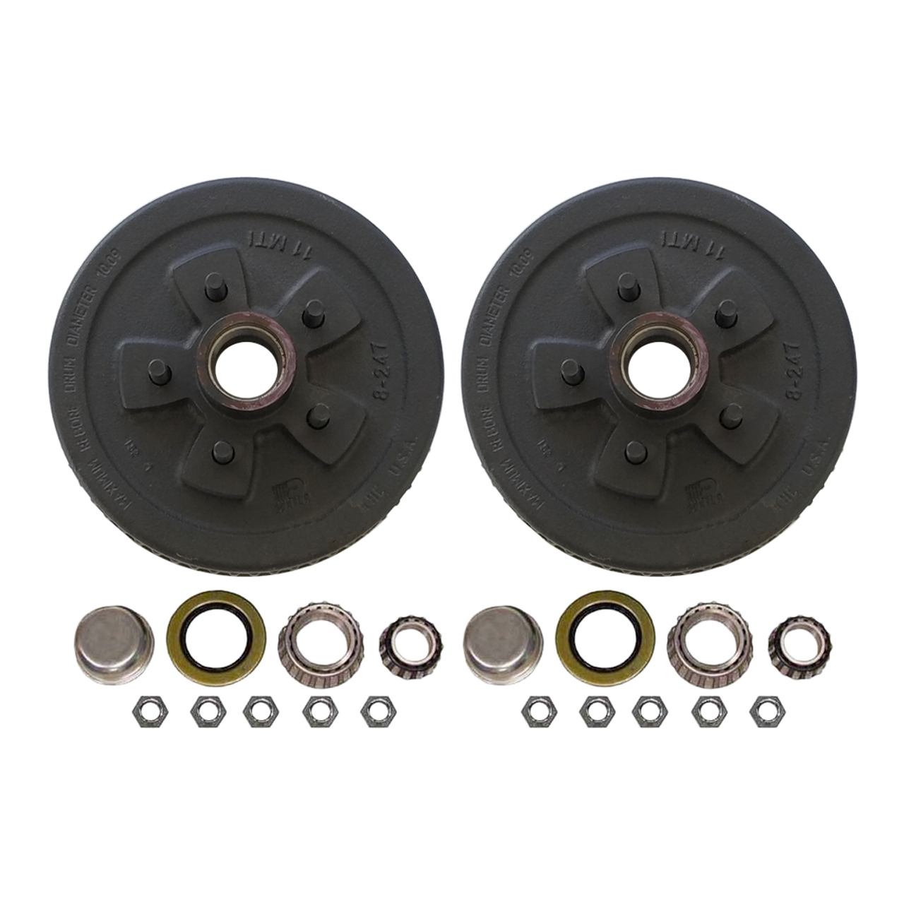 """545UHI-HD --- 5 on 4-1/2"""" Hub and Drum Assembly for 10"""" Brakes - Pair - 3,500 lb"""