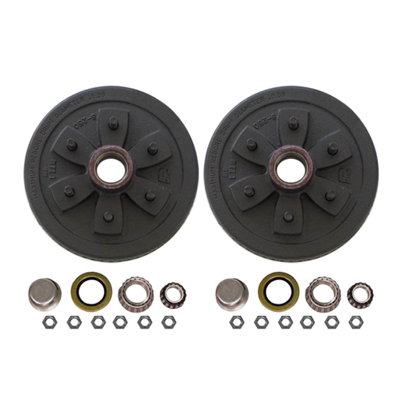 """655UHI-HD --- 6 on 5-1/2"""" Hub and Drum Assembly for 10"""" Brakes - Pair - 3,500 lb"""