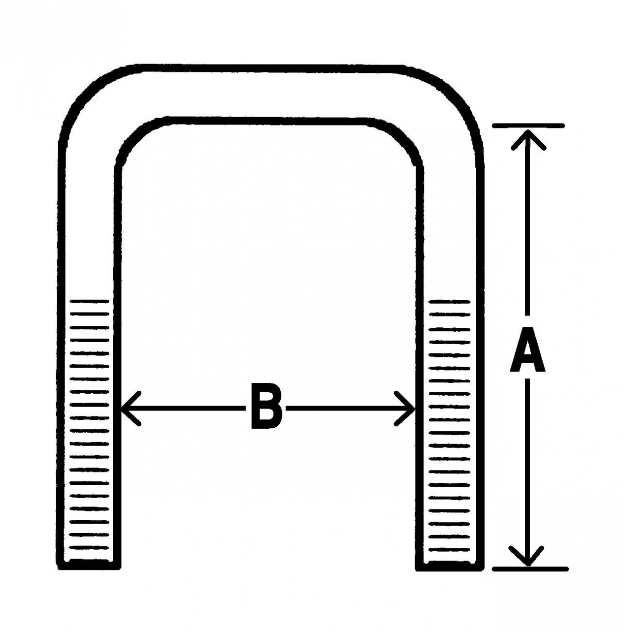 "UB45 --- Square U-Bolt - 1-3/4"" Wide - 4-1/2"" Long - 1/2""-20"