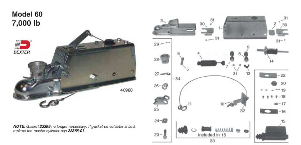 Model 60 - 40960 Titan Parts Breakdown by Dexter Marine