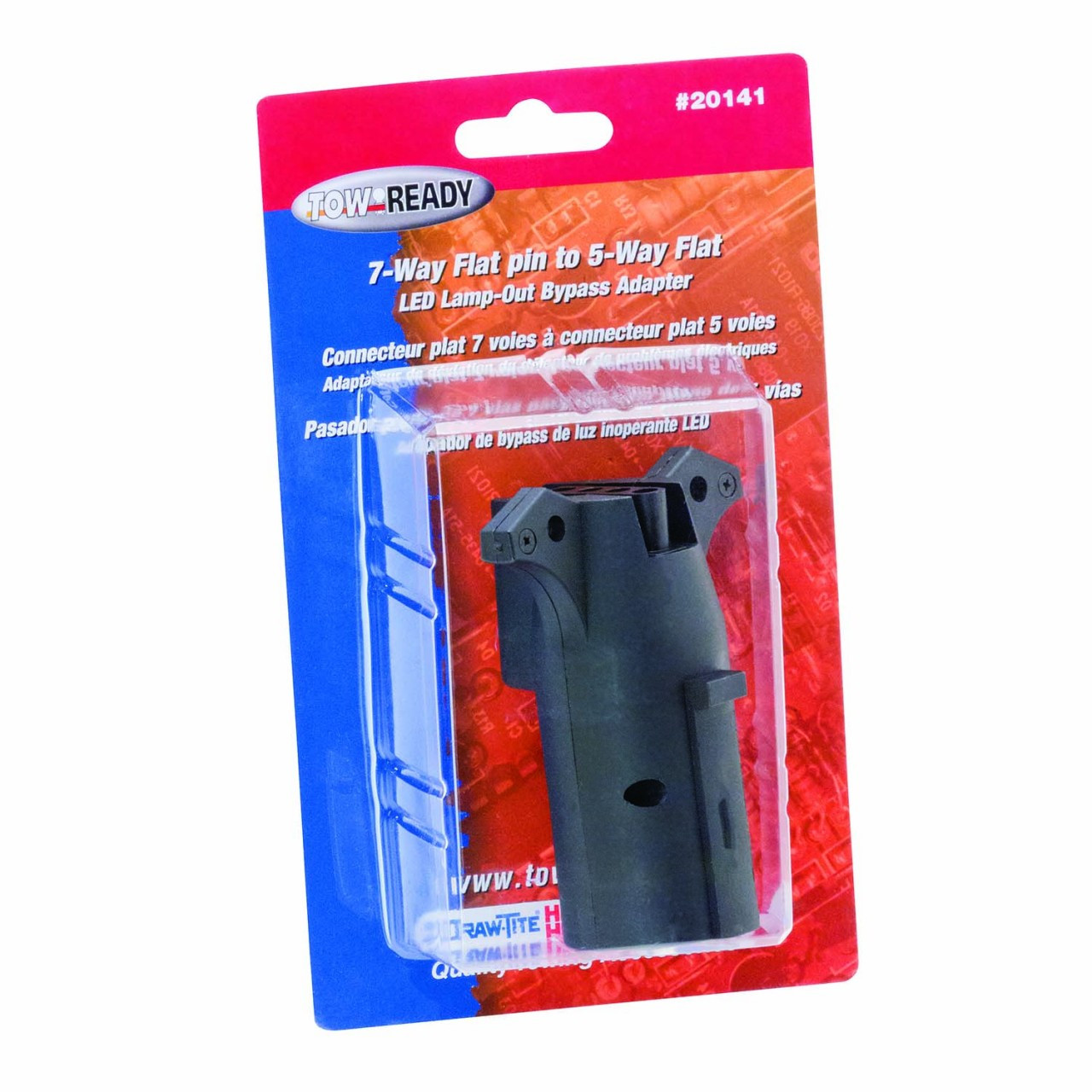 20141 --- 7-Way Flat Pin to 5-Prong Flat Adapter - Fits Vehicles with Trailer Lamp Out Sensors