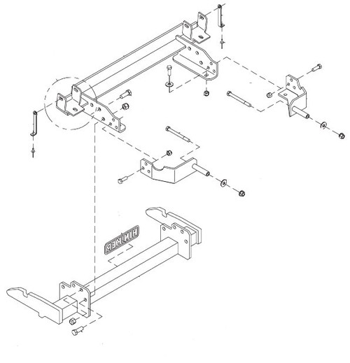 hn25012815 --- hiniker quick-hitch plow mount kit for chevy/gmc 2500/3500  croft trailer supply