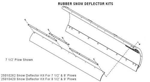 hn25010262 --- hiniker rubber snow deflector kit for 7 5'