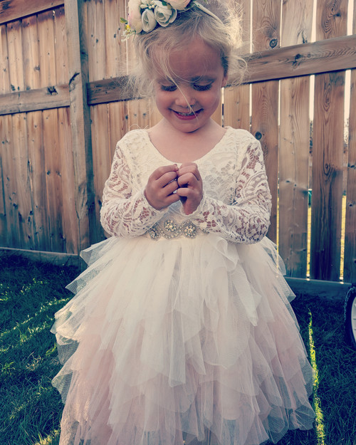 Blush Flower girl dress on Rae