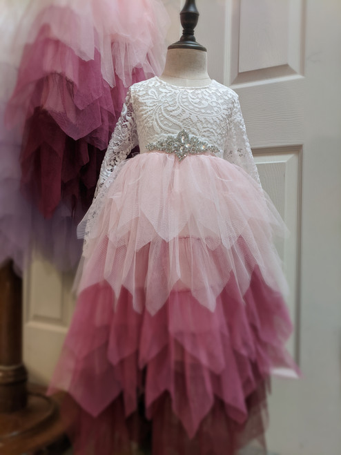 pink Flower Girl Dress with belt