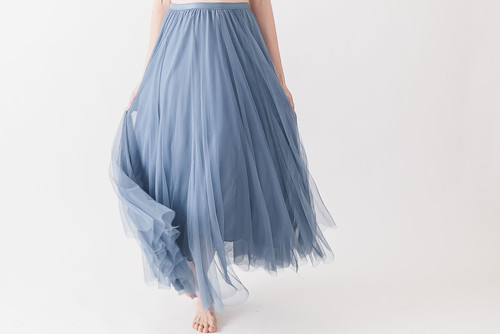 Full length tulle skirt in slate blue