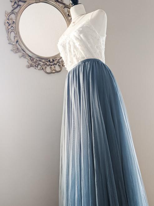 Women's Petal Skirt in Slate Blue