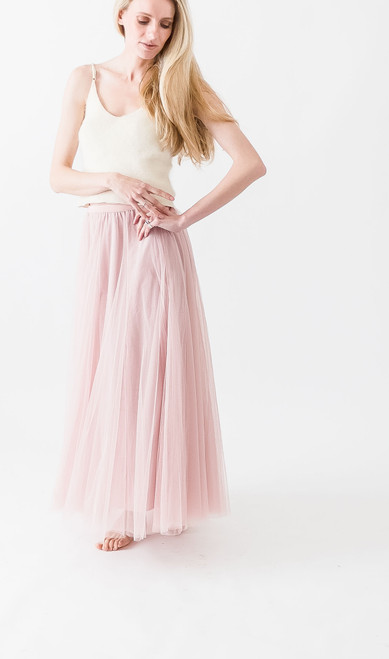 Full length blush tulle skirt