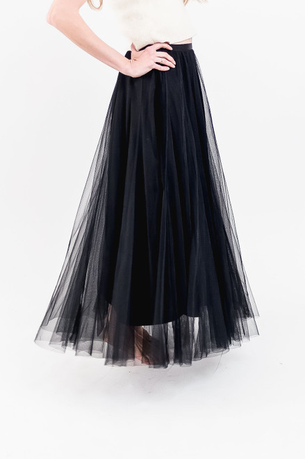 Full length black tulle skirt