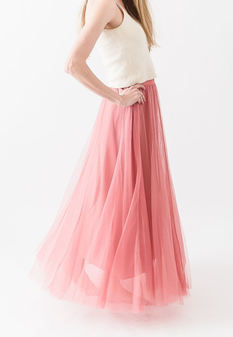 Watermelon full length tulle skirt