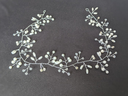Silver Pearl and Rhinestone Hair Vine