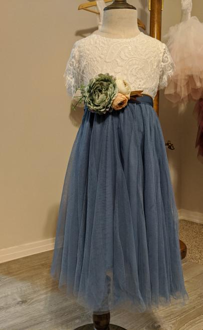 Slate Blue Flower Girl Dress