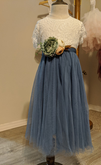 Slate Blue Flower Girl Dress
