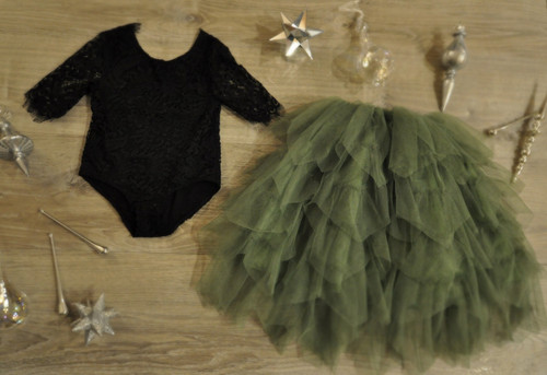 Ayla Rae Black Lace Bodysuit and Sage/Moss Green Gia Skirt