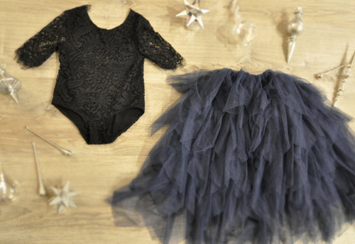 Ayla Rae Black Lace Bodysuit and Navy Gia Skirt