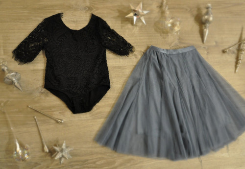 Ayla Rae Black Lace Bodysuit and Slate Blue Petal Skirt