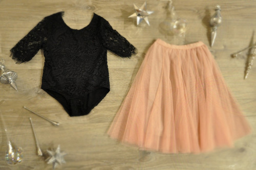 Ayla Rae Black Lace Bodysuit and Blush Pink Petal Skirt
