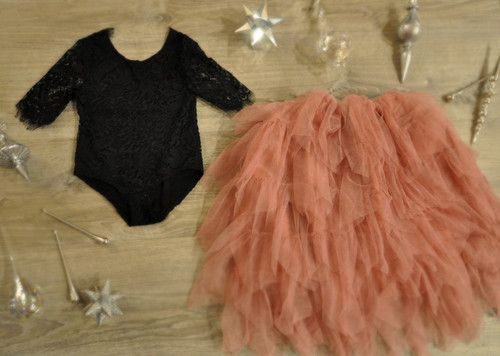 Ayla Rae Black Lace Bodysuit and Rose Gia Skirt