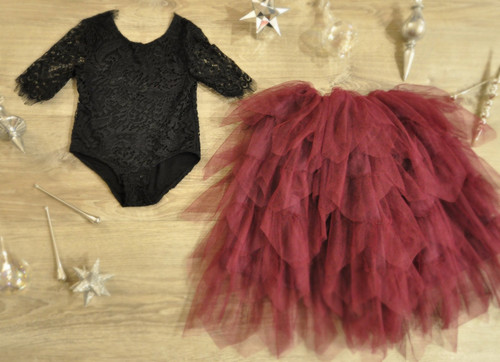 Ayla Rae Black Lace Bodysuit and Plum Gia Skirt