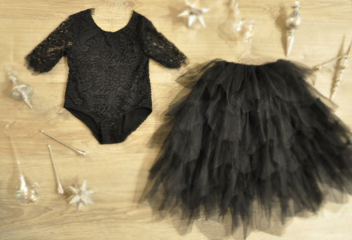 Ayla Rae Black Lace Bodysuit and Black Gia Skirt