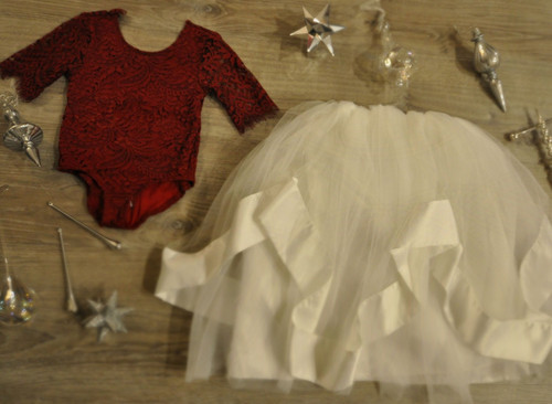 Ayla Rae Wine Lace Bodysuit and White Hailey Skirt