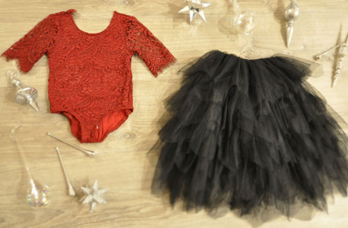 Ayla Rae Wine Lace Bodysuit and Black Gia Skirt